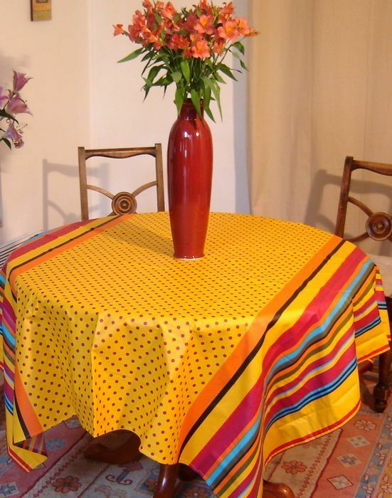 Provence Teflon coated tablecloth 63x63  (160x160cm) square Vent du Sud