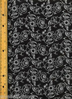 An Appointed Time 21200-j Quilt Quilting Fabric By Half Yard Flowers Black White