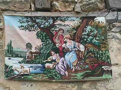 Gobelin tapestry canvas vintage European needlepoint German village Mittenwald
