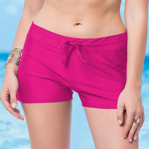 Damen Badehose Boardshorts Bademode Badeshorts Liniert Bikini Hotpants Schwarz M