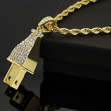 Mens 14K Yellow Gold Plated Iced Out Electric Plug 4 mm Rope Chain Necklace