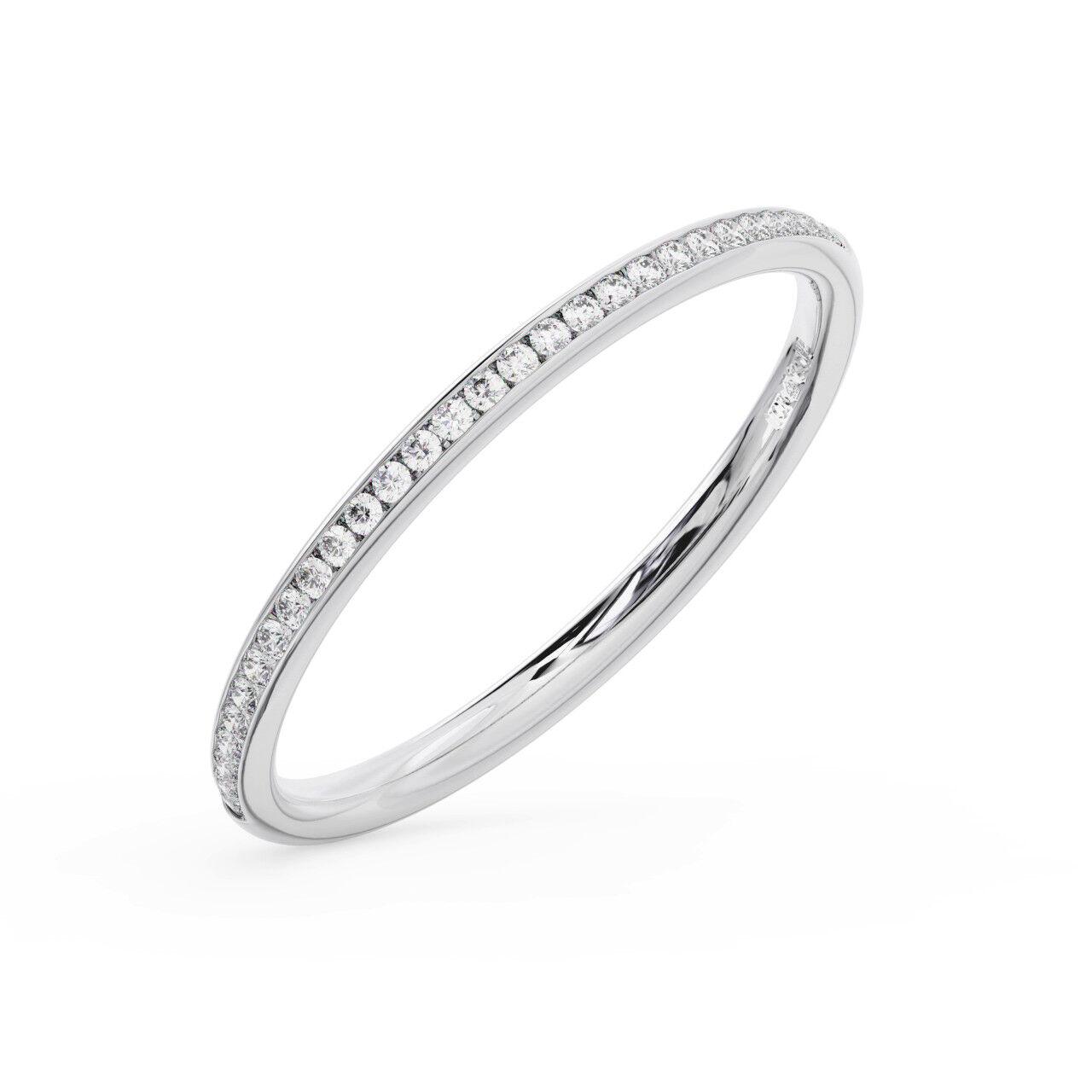 2mm Channel Set Round Brilliant Diamond Half Eternity Ring in 18K gold