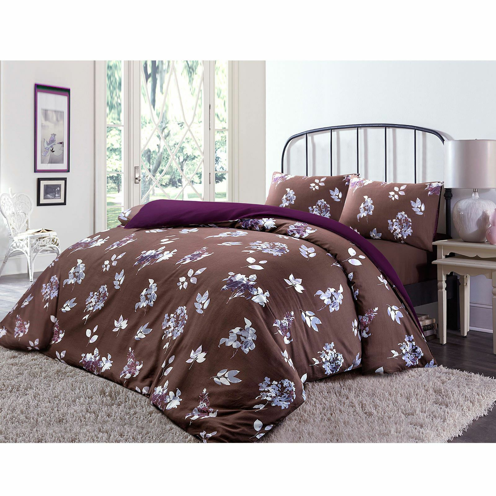 Shadow Floral T230 Duvet Cover Set + T200 Fitted Sheet Plum
