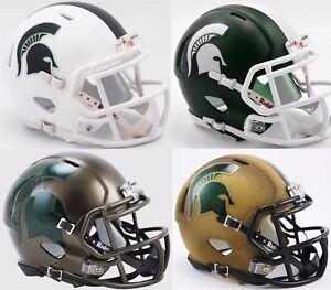 2017-MICHIGAN-STATE-SPARTANS-Riddell-SPEED-Mini-Football-Helmet-WHITE-COMBO