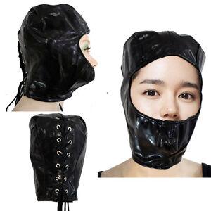 Black PU Leather Gimp Hood Mouth Cover Open-Face Soft Shiny Slave ... e6500ab36