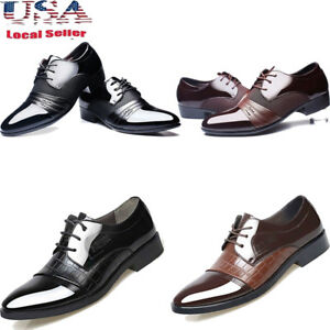 Business-Mens-New-Dress-Formal-Oxfords-Leather-Shoes-Flat-Lace-Up-Casual-Loafers