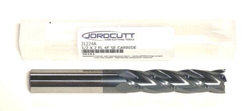 "JordCutt 1//2/"" Carbide End Mill Long Length ALTIN Coated 4 Flute USA Made"