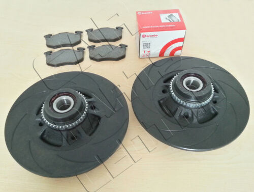 FOR CLIO SPORT 172 182 REAR BLACK 12 GROOVED BRAKE DISCS ABS BEARING BREMBO PADS