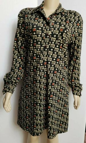 Naf naf Geometric Pattern Women Dress Shirt Long S
