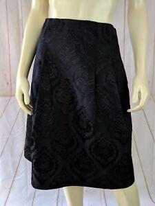Talbots-Petites-Skirt-8P-Black-Embossed-Art-Deco-Pleats-Lined
