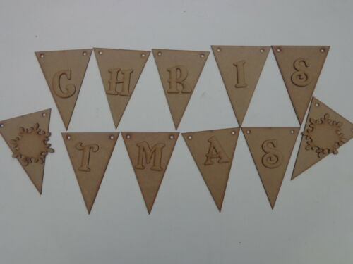 15 Triangle Bunting With Merry Christmas Letters Wooden MDF Craft Blanks