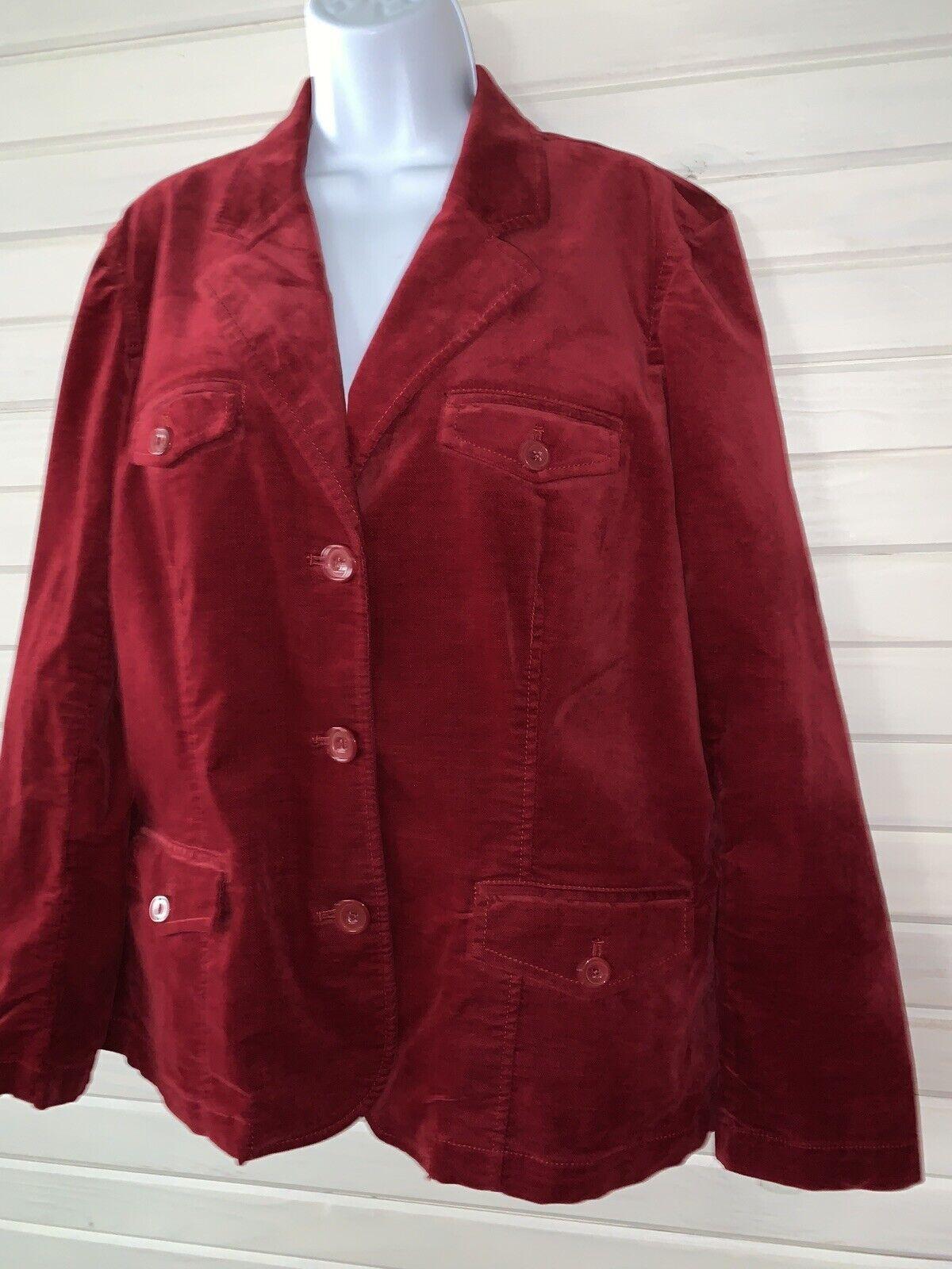 Eddie Bauer Sz XL Red Velvet Blazer Sport Jacket … - image 1