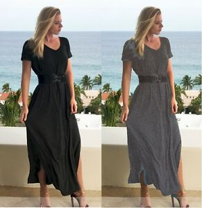 Womens-Long-Maxi-Dress-W-Side-Slit-amp-Pockets-Beach-Party-Boho-S-M-L-XL