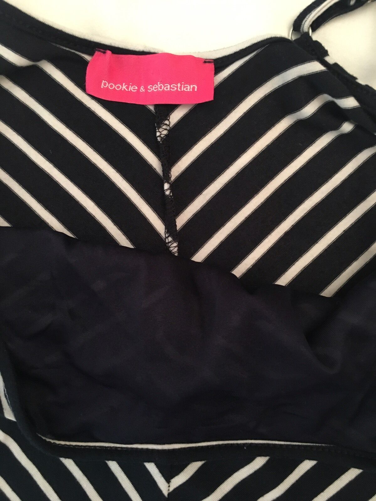 Pookie & Sebastian bluee bluee bluee & White Striped Full-length Spaghetti Straps Dress Sz S e6f38e
