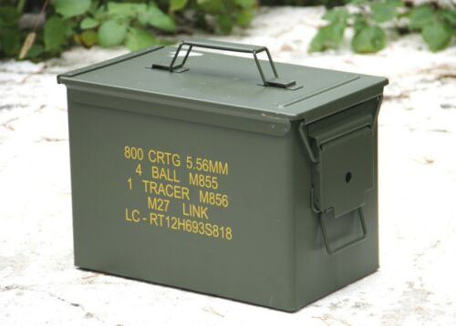 ORIGINAL USA ARMY MUNITIONSKISTE KISTE PATRONENKISTE METALL AMMO BOX OLIV GUMMID