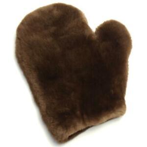 Fur Glove Wellness Massage Streichel Velvet Nutria Erotic Soft Plucked Braun