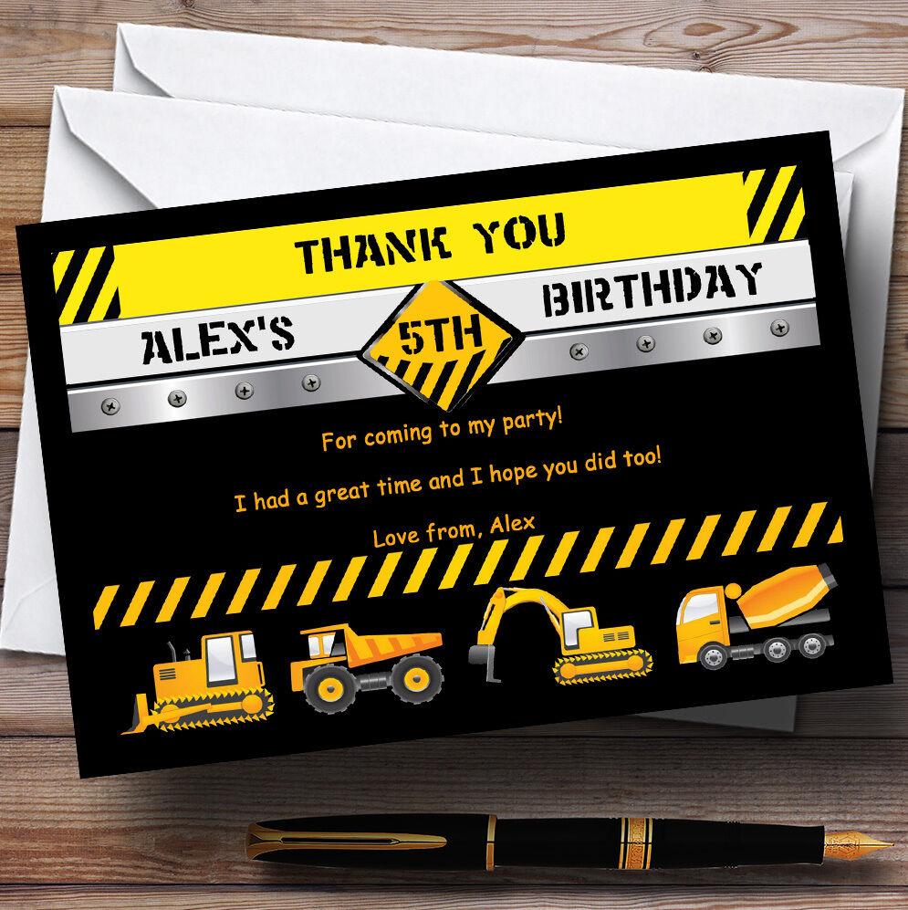 Excavadora Jcb construcción Builder Personalizado Fiesta De Cumpleaños Tarjetas De Agradecimiento