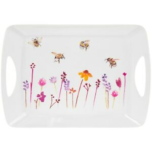 Busy-Bees-Melamine-Floral-and-Bee-design-Large-Tray-Serving-Platter-or-Lap-Tray