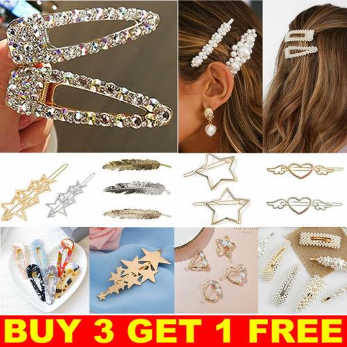 Women/'s Girls Pearl Hair Clips Gold Hairpin Slide Grips Barrette Hair Accessorie