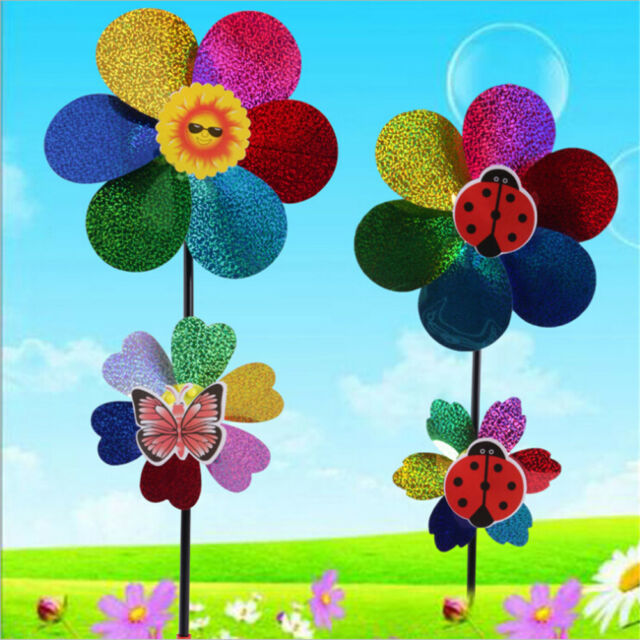 Kids Toy Colorful Sequins Windmill Wind Spinner Home Garden Yard Decoration RS