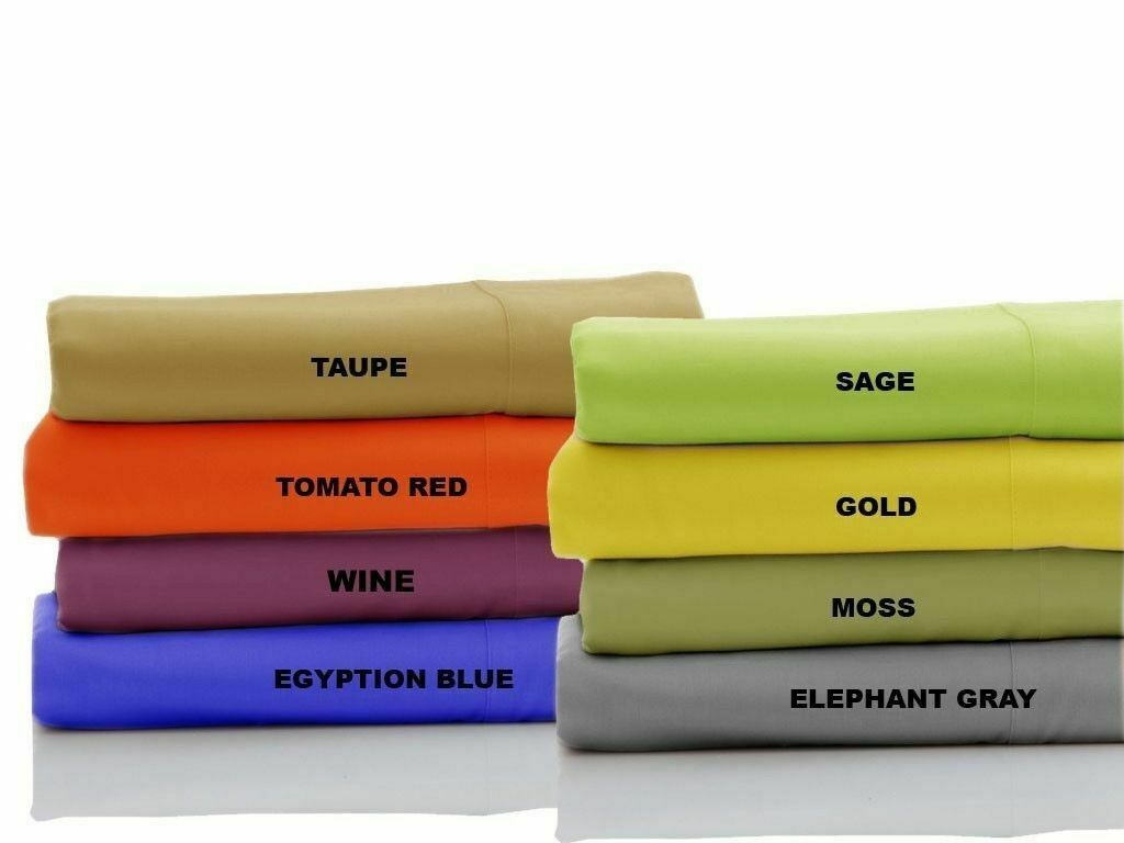 1200 Thread Count Egyptian Cotton Flat Sheet+2 PC Pillow Case All Size & color