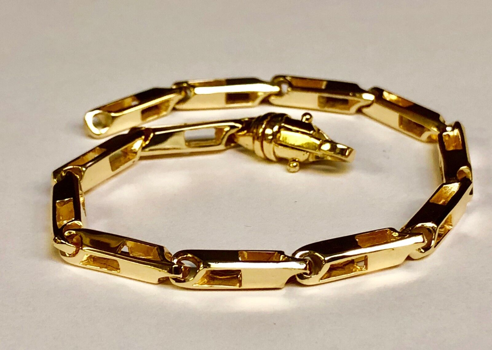 14k Solid Yellow gold Handmade Fashion Link Men Chain Bracelet 10  27 grm 4.5MM