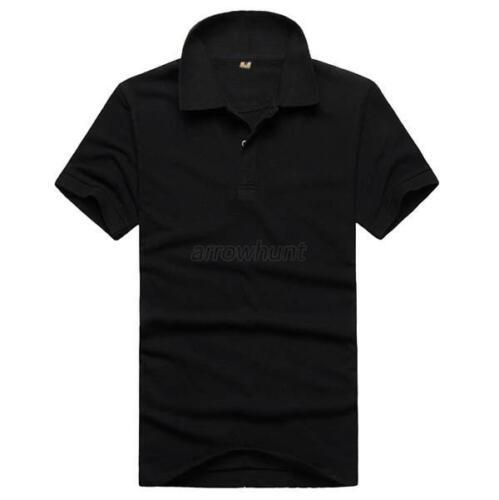 Men Short Sleeve Lapel Shirt Solid Tee Blouse Tops T-shirt M-3XL 16Colors