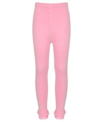 girls pink tights  Plain Elasticated Pink White under skirt