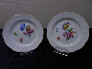2-X-Dresda-Porcellana-Piatto-Decorativo-Torta-Fiori-Dipinti-Mano-Vintage
