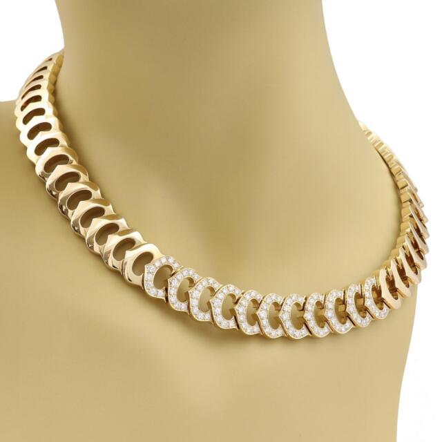 Cartier C Logo 2.75ct Diamond All Around C Link 18k Gold Necklace w/Paper