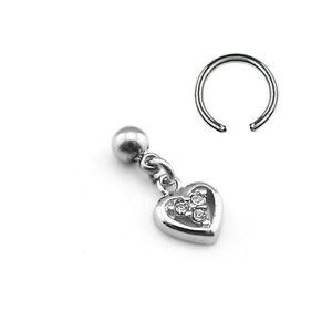 Ring mit Herz Anhänger Kristall Ohr Helix Tragus Piercing 1