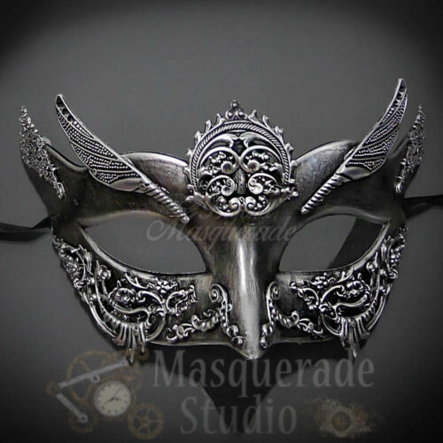 Couples Silver Hercules and Silver Angel Costume Party Masquerade Masks Set