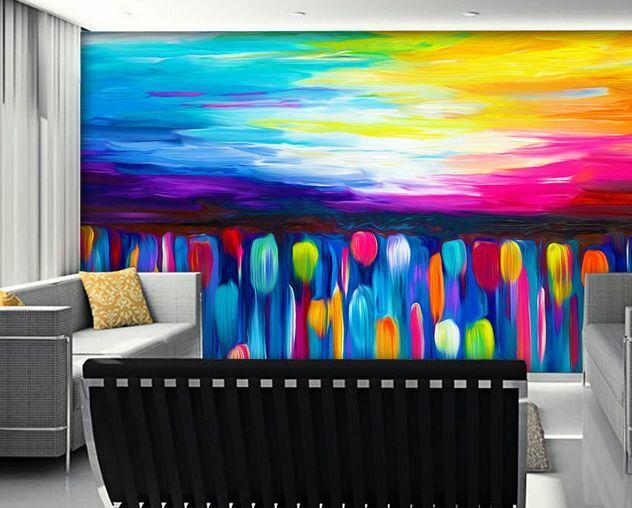 3D tulipani colorati 3 Parete Murale Carta da parati immagine sfondo muro stampa