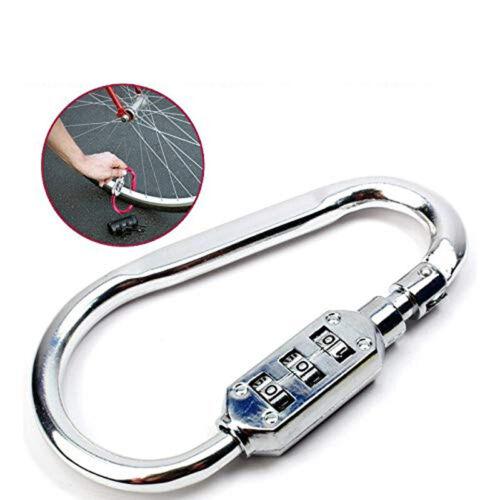 Outdoor Hiking Bag Luggage Security Carabiner Lock 3-Dial Password Padlock Tools