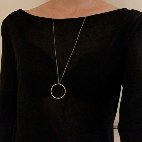 Women/'s Necklace Silver Gold Plated Ring Circle Simple Style Long Statement Gift
