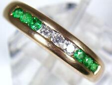 Vintage 14ct Gold 3 Diamond & 6 Emerald Dress or Eternity Ring . U.K size M 1/2