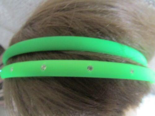 Pack 2 neon hair alice bands diamante headbands 0.7cm plastic band hairband