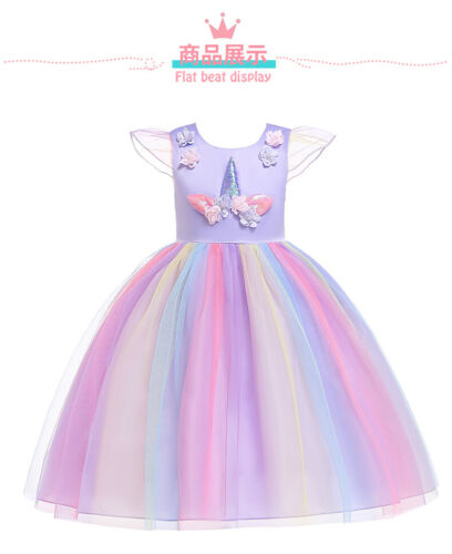 Flower Girl Unicorn Tutu Dress Rainbow Princess Birthday Party Christmas Costume