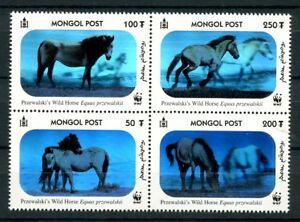 WWF-Przewalski-039-s-Horses-3-D-Hologram-mnh-block-4-stamps-Mongolia-2441