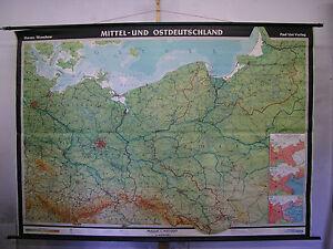 Karte Ostdeutschland.Details Zu Schulwandkarte Wandkarte Karte Ddr U Ostdeutschland Preussen Polen 242x170 1955