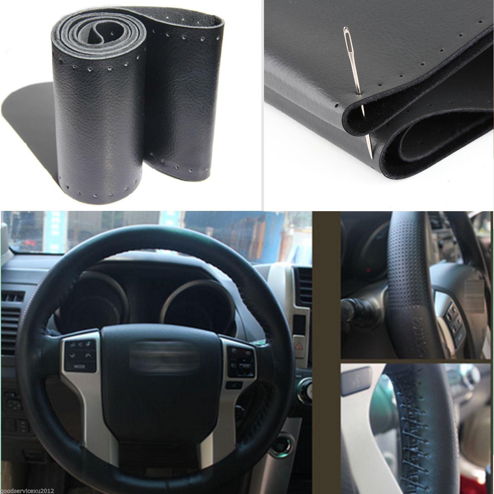Car Auto Diy Black Genuine Leather Steering Wheel Cover Wrap