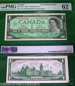 034-Lowest-40k-Printed-034-BC-45bA-L-O-Replacement-1967-Canada-1-Centennial-PMG62