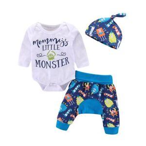 d2121def7 3pcs Newborn Baby Boys Girls Romper Bodysuit+Harem Pants+Hat Clothes ...