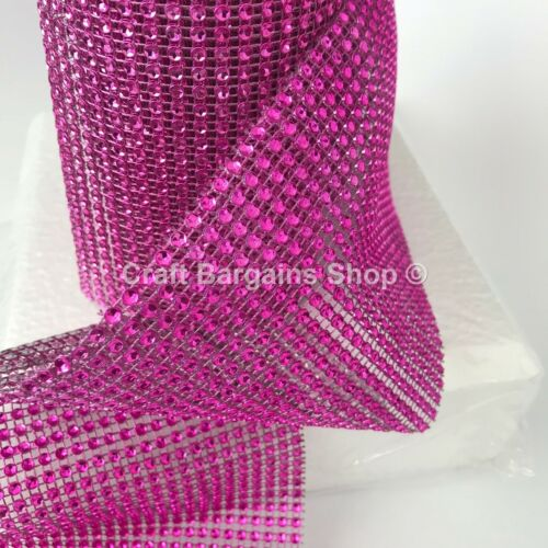 CERISE PINK metalic Diamante Effect Mesh Ribbon Wedding Bridal Rhinestones Cake