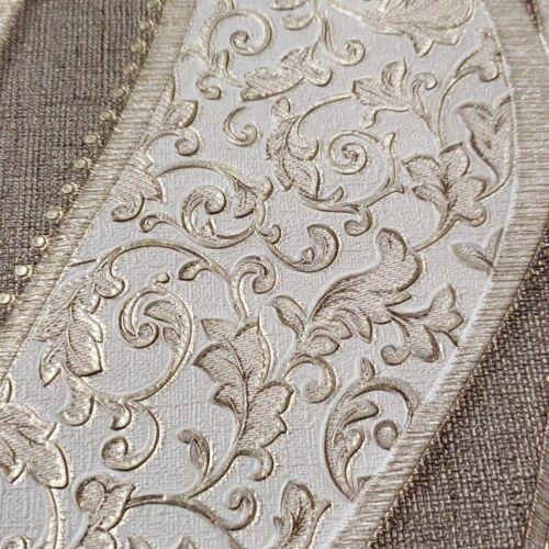 Modern textured Wave lines brown Gold Metallic Wallpaper embossed damask roll 3D