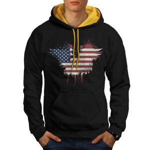 Wellcoda drapeau pays American USA Homme Contraste Sweat à capuche États-Unis Casual Pull