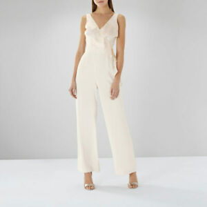 Sporting New Coast Emerson Cream Frill Neck Jumpsuit Sz Uk 12 Rrp £139