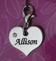 Cc Allison Heart Name Charm For Bracelet Cherish Charms Lobster Closure Jewelry