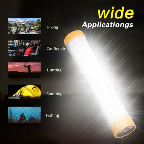 LED Portable Tube Light USB Rechargeable Battery Work Outdoor Camping Hiking #