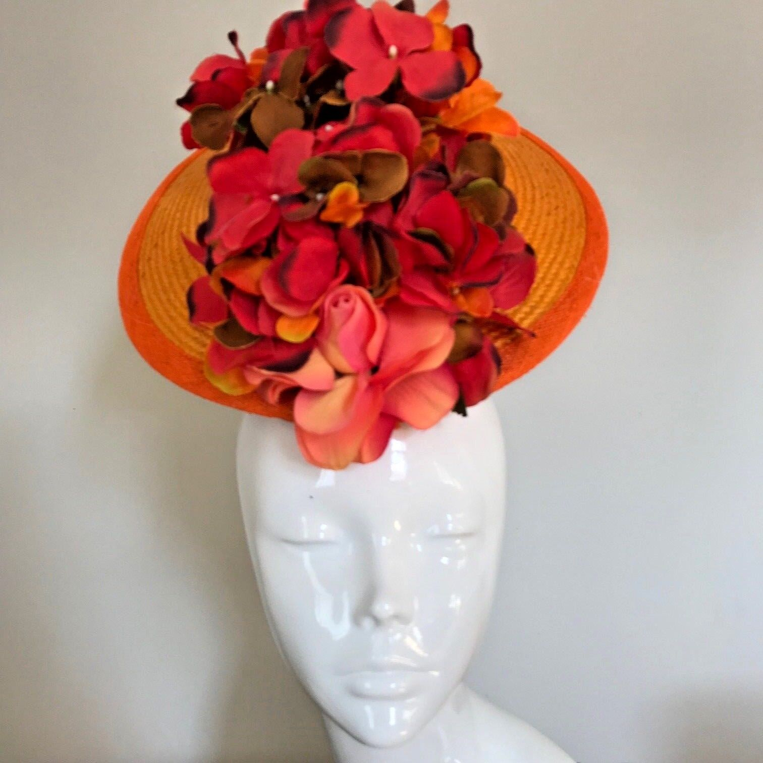 One Off Orange Designer Millinery by Hat Couture Wedding Bridal Racing Hat